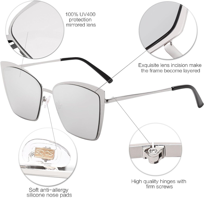 SOJOS Sonnenbrille Rechteckig Katzenaugen Neue Modell Flach Linsen Gro/ß SJ1086