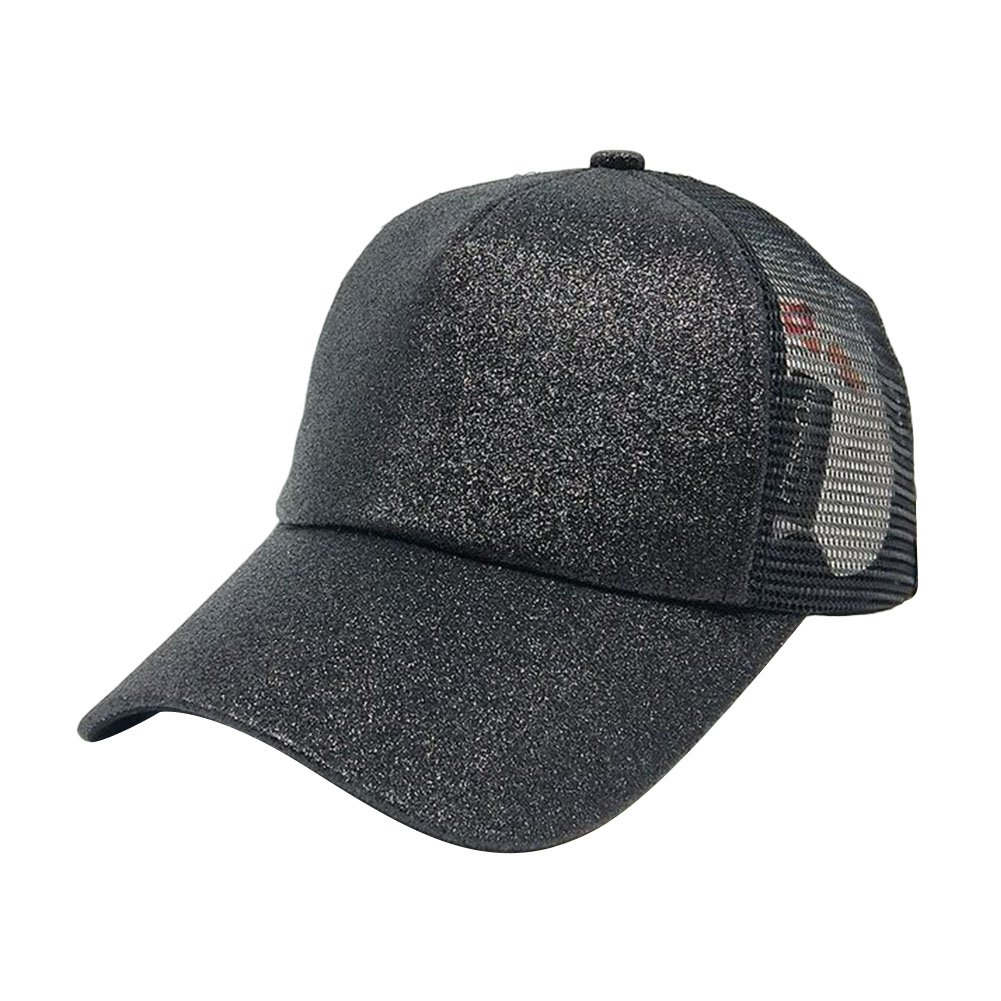 56069e707c2c53 Ztl Glitter Baseball Cap High Messy Bun Ponytail Adjustable Mesh Visor Cap  Hat, Black at Amazon Women's Clothing store: