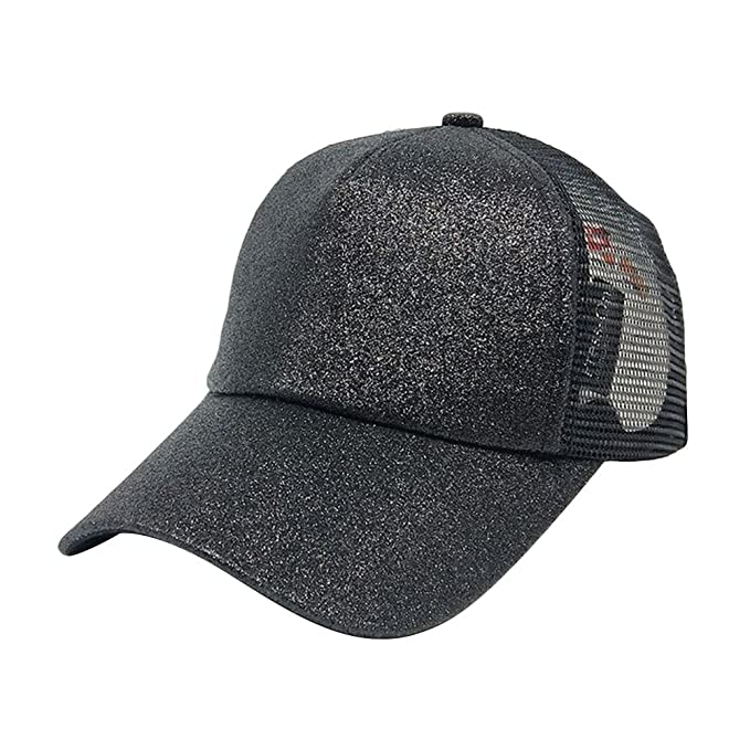 4c7f2f1d2b0 Image Unavailable. Image not available for. Color  Ztl Glitter Baseball Cap  High Messy Bun Ponytail Adjustable Mesh Visor Cap Hat
