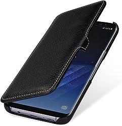 StilGut Housse pour Samsung Galaxy S8+ en Cuir véritable et à Ouverture latérale, Noir avec Clip