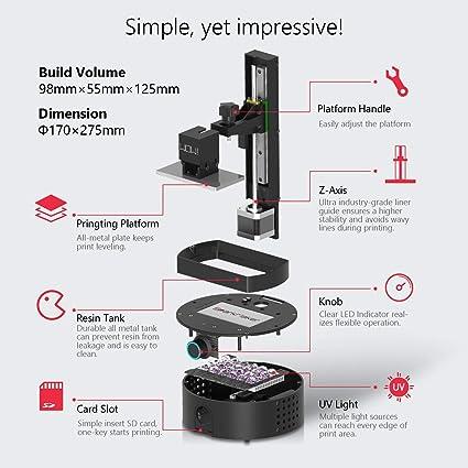 Impresora LCD 3D, Sparkmaker SLA 3D de resina, impresora de ...