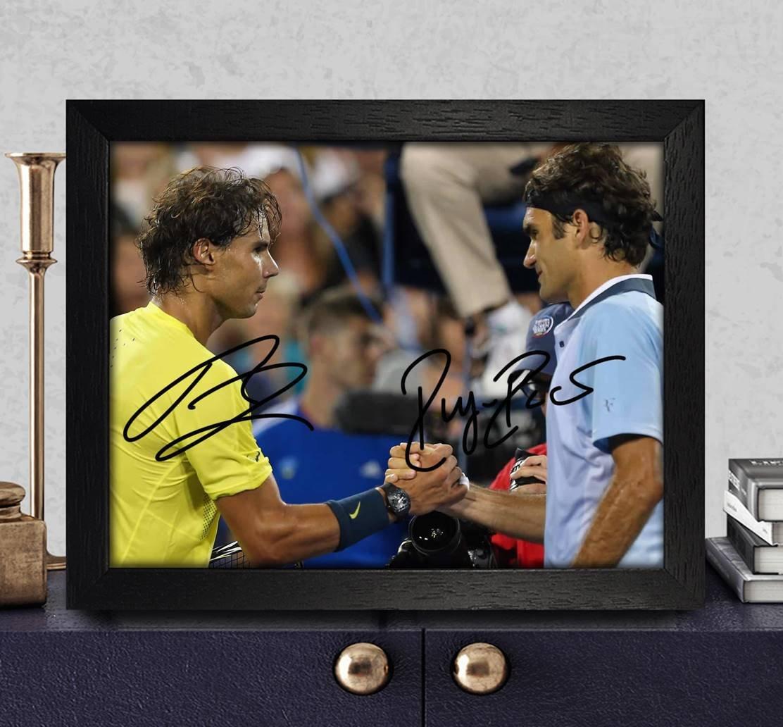 Roger Federer /& Rafael Nadal Autogramme signiert Foto 8/x 10/Nachdruck RP PP