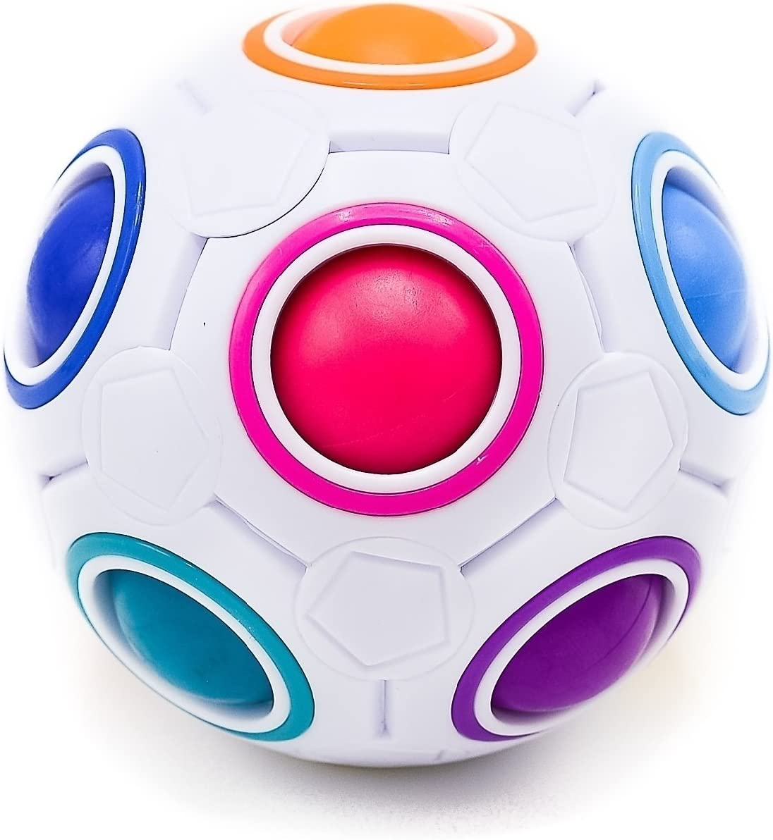 Toyzabo Challenging Puzzle Speed Cube Ball, Matching Colors Game, Fun Fidget Toy Brain Teaser with 11 Rainbow Colors