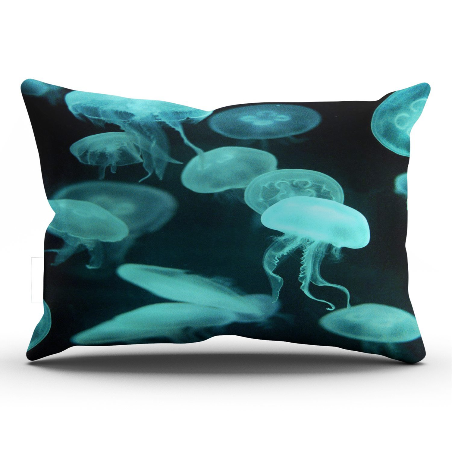 KEIBIKE Personalized Animals Jellyfish Blue Transparent Rectangle Decorative Pillowcases Printed Zippered King Pillow Covers Cases 20x36 Inches One Sided