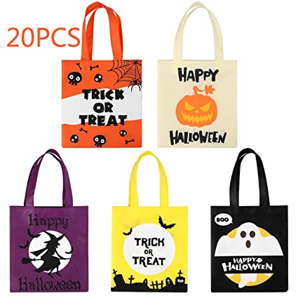 BESTonZON 20PCS Halloween Tote Bags Trick or Treat Gift Bags for Kids Party Goodie Candy Bags with Handle Favor Bags for Halloween