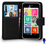 Nokia Lumia 530 Premium Leather BLACK Wallet Flip Case Cover Pouch with Mini Touch Stylus Pen BLUE Dust Stopper Screen Protector & Polishing Cloth BY SHUKAN®, (WALLET BLACK)