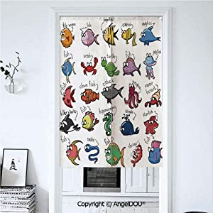 AngelDOU l Decor for Kids Cotton Linen Printed Customized Doorway Curtain Aquarium Cartoon Octopus Dolphin Shark Whale Clown Fish Jellyfish Crab Marine Privacy Drape Valance 33.5x59 inches