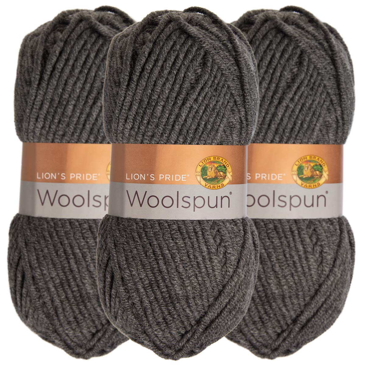 Lion Brand (3 Pack) Woolspun Acrylic & Wool Soft Charcoal Gray Yarn for Knitting Crocheting Bulky #5