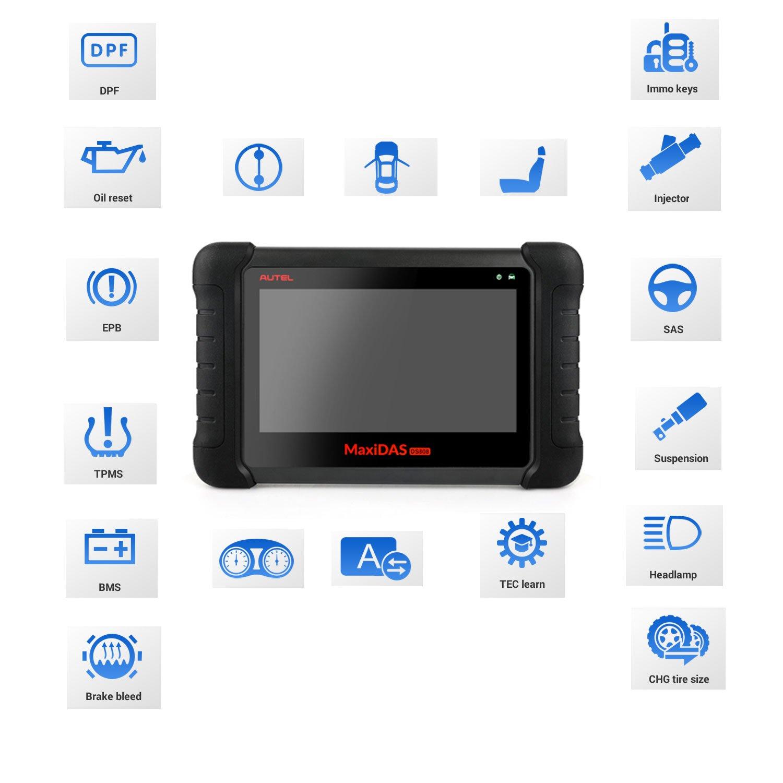 Autel Maxidas DS808 Bi-Directional Automotive OBD2 Scanner Diagnostic Tool  Key Fob Programming, ECU Coding, ABS Bleeding Brake, Reset Functions