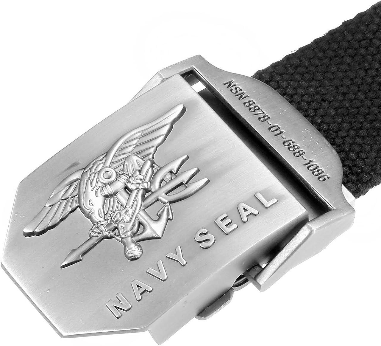 Ayliss/® Cintura in tessuto da uomo militare con aquila e fibbia in tela Navy Seal 125 cm