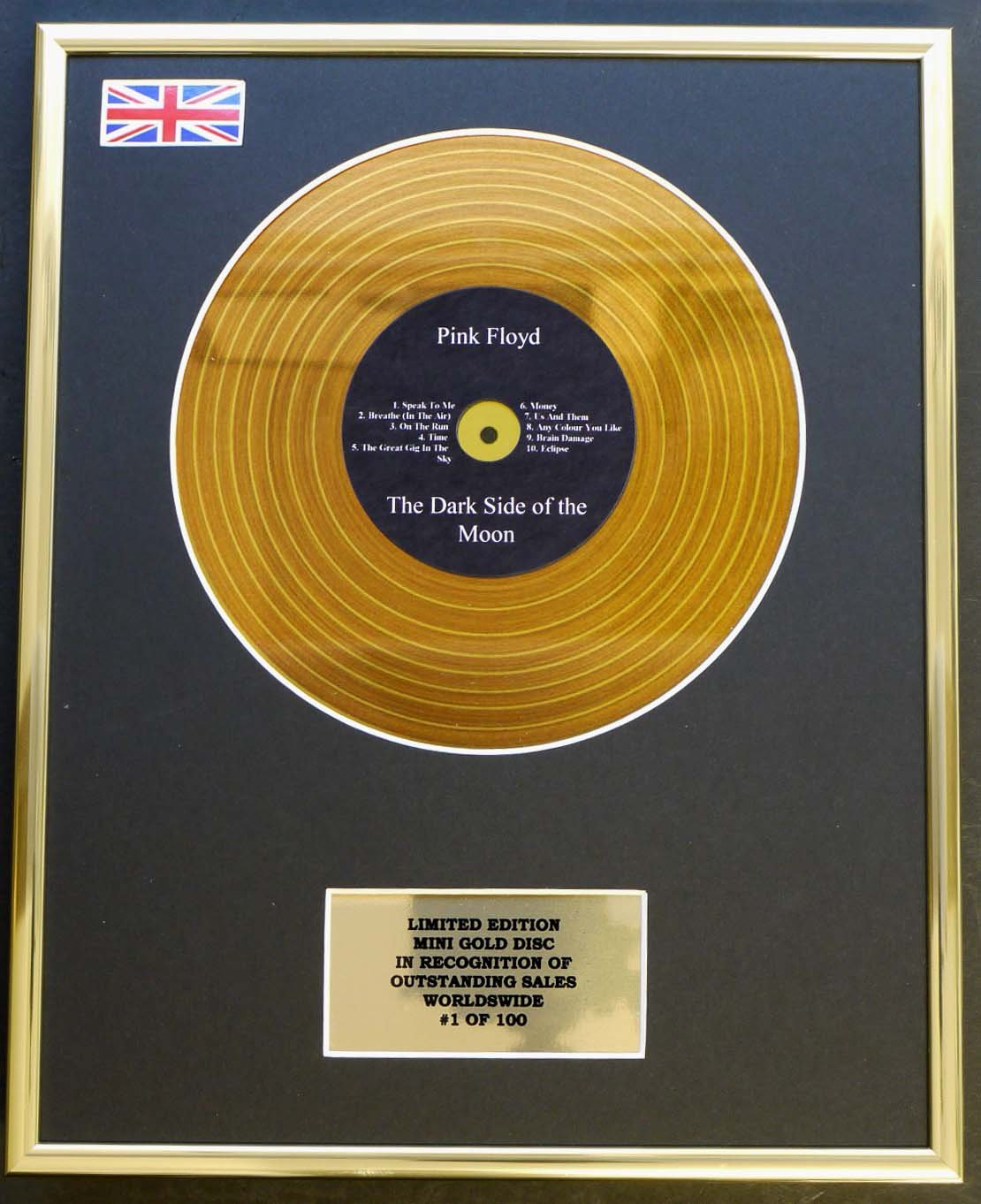 PINK FLOYD / MINI METAL GOLD DISC DISPLAY / EDIZIONE LIMITATA / COA / THE DARK SIDE OF THE MOON Everythingcollectible