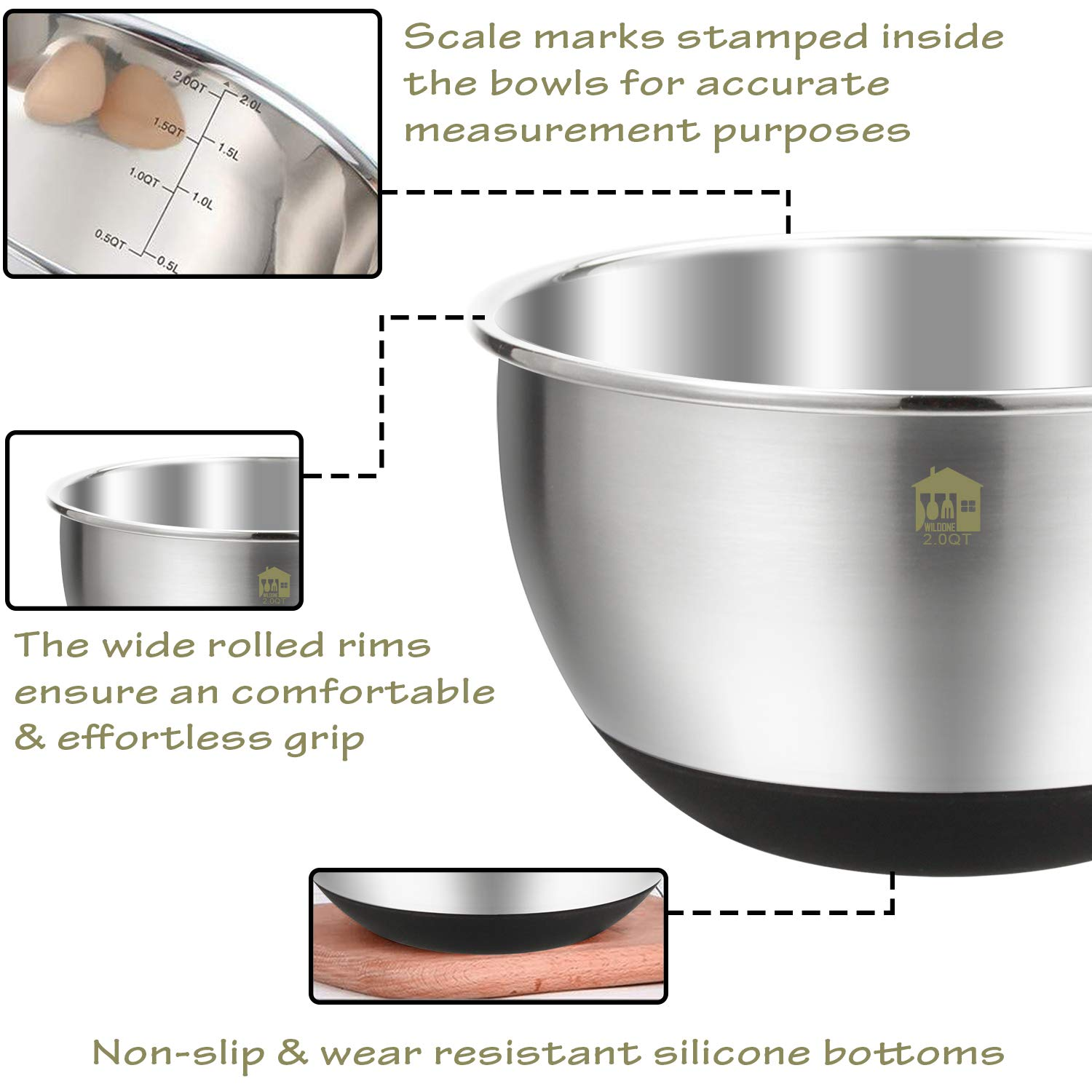 Wildone Stainless Steel Mixing Bowls, Nesting Bowls with Airtight Lids, Measurement Marks, Non Slip Silicone Bottoms, for Easy Mixing & Prepping - Set of 6 by Wildone (Image #2)