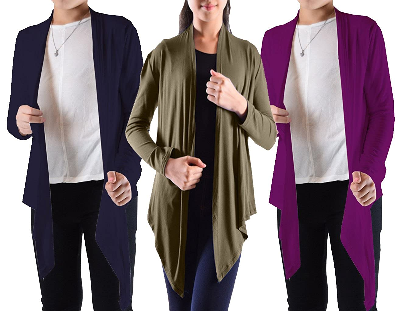 Dinamit Jeans Big Girls' 3 Pack Long Sleeve Flyaway Cardigan Sweater (3-Pack) 3pk-8198K-pp