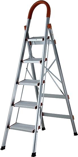 Escalera de aluminio superplana, escalera para el hogar, escalera de pintor, escalera de 5 o 6 peldaños: Amazon.es: Bricolaje y herramientas