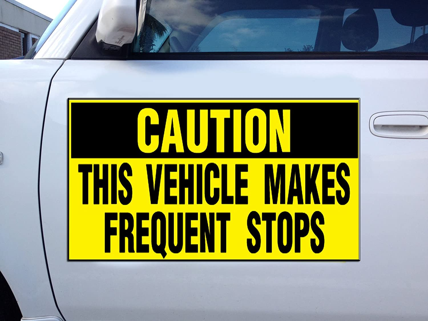 Fastasticdeals Vehicles Makes Frequent Stops Caution Car Door Magnets Magnetic Signs-Qty 2//9 x 12 Inches