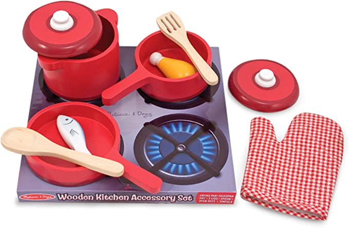 Melissa & Doug Deluxe Wooden Kitchen Accessory Set - Pots & Pans (8 Pieces, Great Gift for Girls and Boys - Best for 3, 4, 5, 6, and 7 Year Olds)