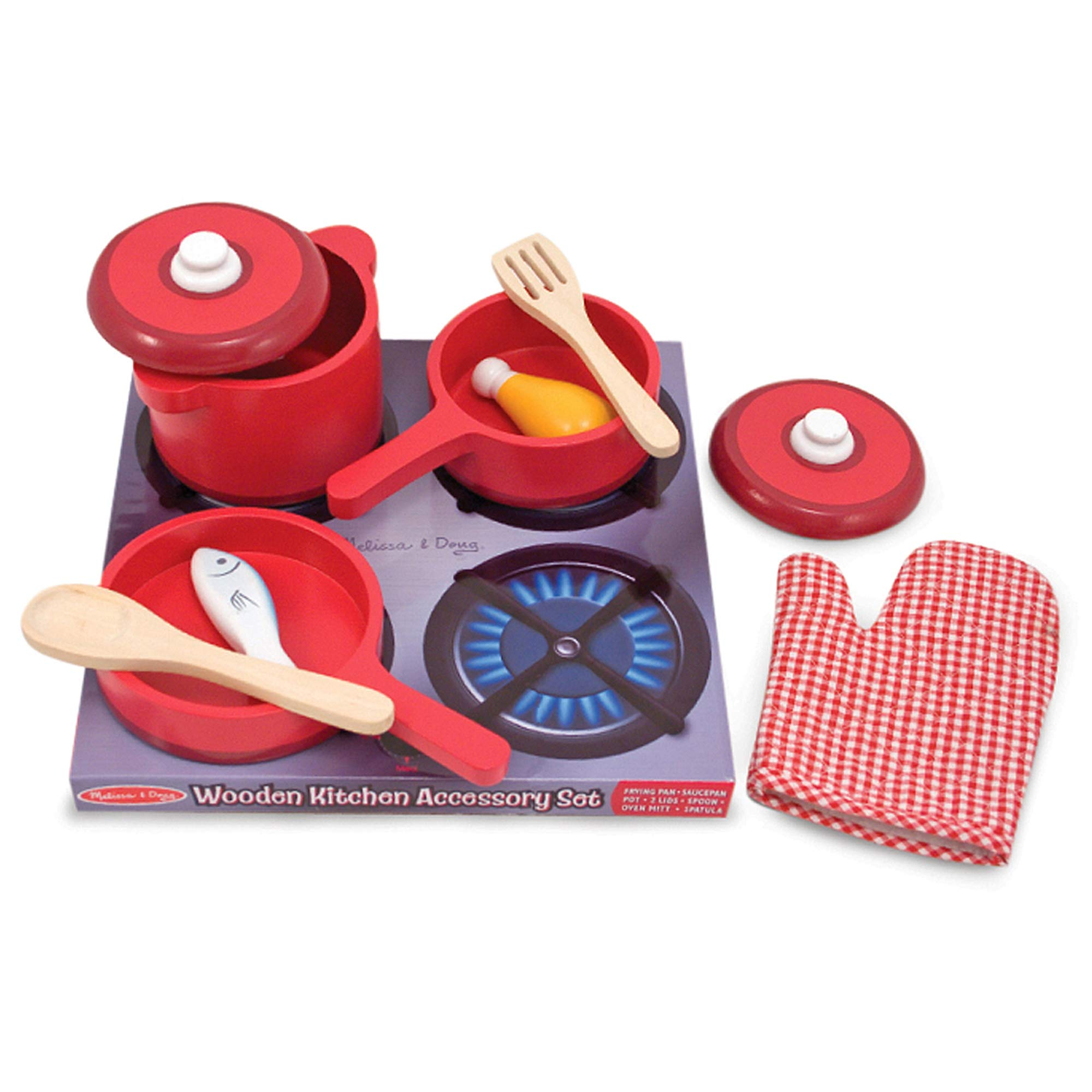 Melissa & Doug Deluxe Wooden Kitchen Accessory Set - Pots & Pans (8 Pieces, Great Gift for Girls and Boys - Best for 3, 4, 5, 6, and 7 Year Olds) by Melissa & Doug