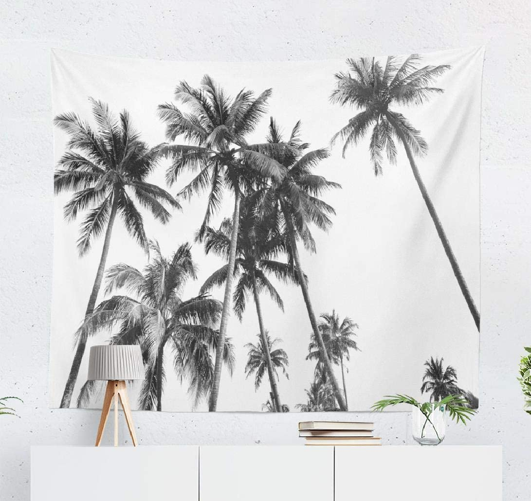 White Tapestry Wall Hanging, WallDecor Black and White Silhouettes Tropical Coconut Palm Trees Wall Tapestry for Bedroom Living Room DormDecor 50x60 Inches