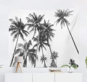 White Tapestry Wall Hanging, Wall Decor Black and White Silhouettes Tropical Coconut Palm Trees Wall Tapestry for Bedroom Living Room Dorm Decor 50x60 Inches