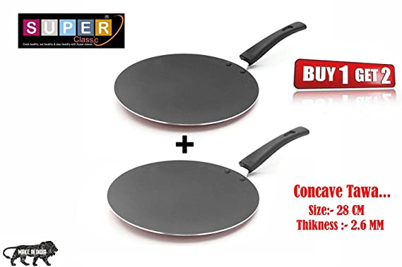 Classic Cookware Non Stick 28 cm Concave Tawa Buy 1 Get 1 Free Offer Pot   Pan Sets