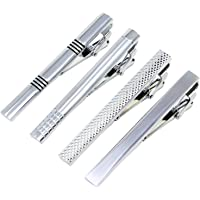 Coolty 4pcs Men Tie Clips, Tie Bar Clip Set with Gift Box Bar Cufflinks Shirt Wedding Business Mandatory