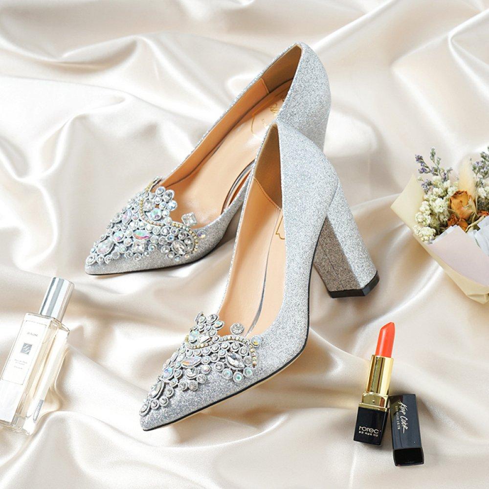 MUYII Damen Braut Hochzeit Schuhe Schuhe Schuhe Damen Silber Rough Heels Spitzen Strass Bankett Schuhe,SilverA-7CM-34 - 88b199
