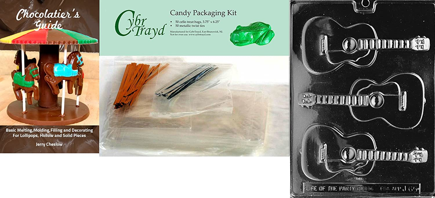 25 Cello Bags Clear 25 Gold Twist Ties and Chocolatiers Guide 9x12 Cybrtrayd 3-CavityGuitar Jobs Chocolate Candy Mold with Chocolatiers Bundle