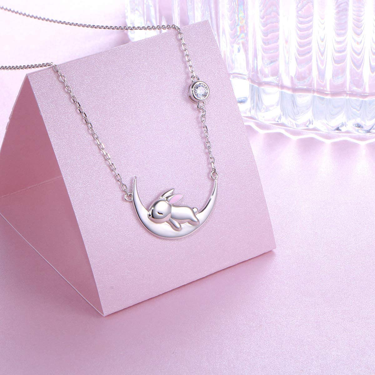 Rabbit Necklace For Women In Sterling Silver 925 Girls Bunny Pendant Jewellery Animal Pet Gift Birthday Anniversary Present Wife Mother Daughter Friend Gran Aunt Niece