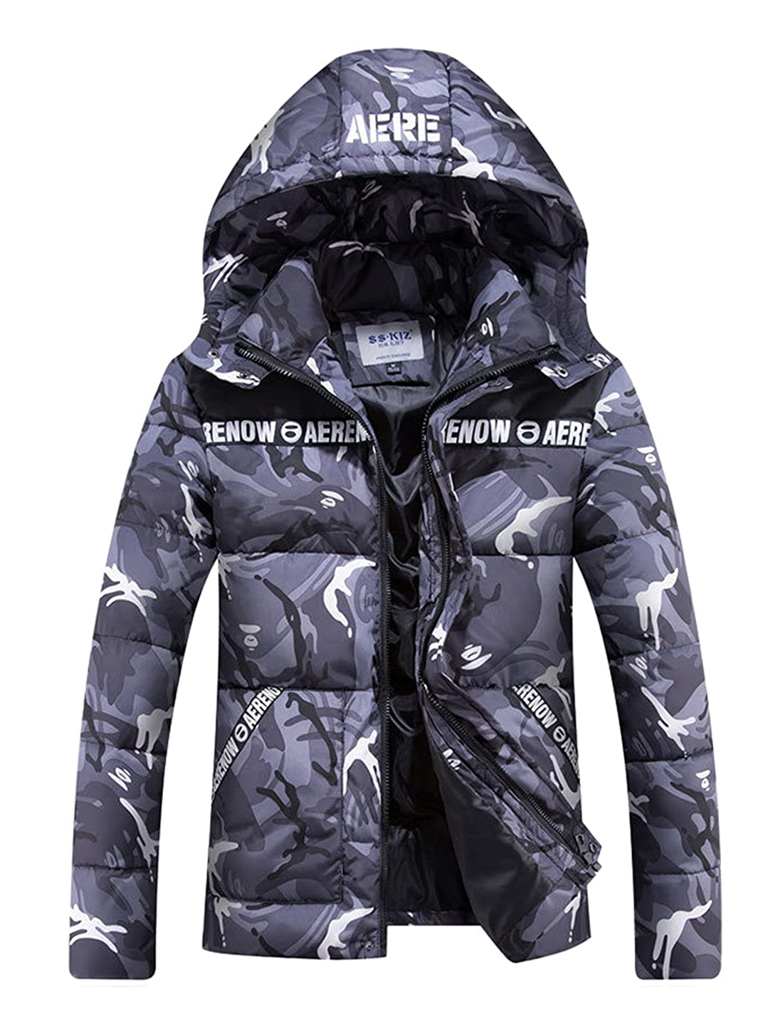 CHARTOU Mens Winter Hooded Camouflage Quilted Puffer Coat Padded Jacket Parkas Outwear