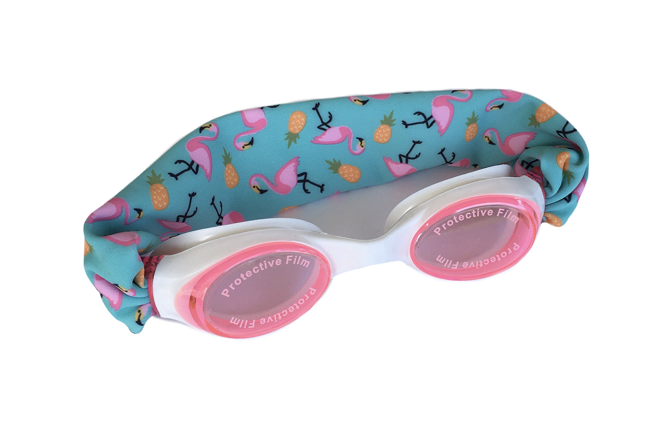Splash Flamingo Island Swim Goggles - Comfortable, Fashionable, Fun - Fits Kids & Adults - Won't Pull Your Hair - Easy to Use - High Visibility Anti-Fog Lenses - Patent Pending