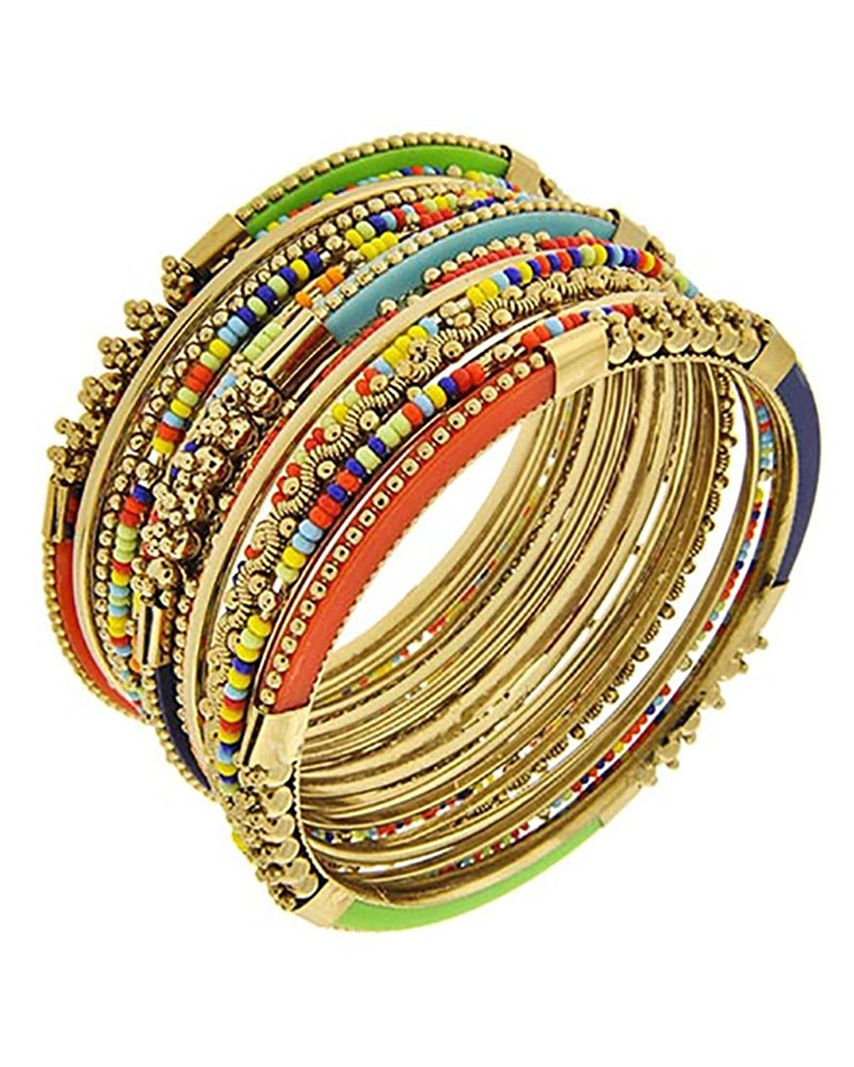 15 Piece Multi-Colored Antique Goldtone Stackable Bangle Bracelets