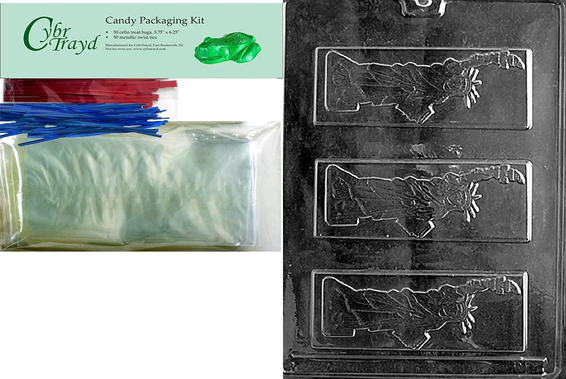 Cybrtrayd Statue of Liberty Bar Patriotic Chocolate Candy Mold//Packaging Bundle of 25 Cello Bags 25 Blue Twist Ties and Chocolate-Molding Instructions