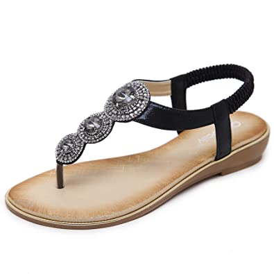 Damen Bohemia Sandalen Strand Zehentrenner Clip Toe Flip Flops Sommerschuhe Flach mit Perlen Strass Kccpe