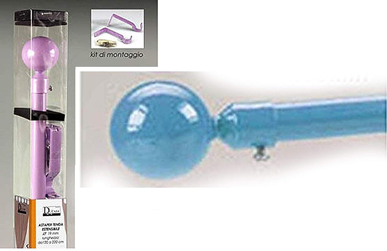 barre de rideau extensible cm 120//220 orange en m/étal color/é et en PVC;; kit de montage inclus b/âton de tente