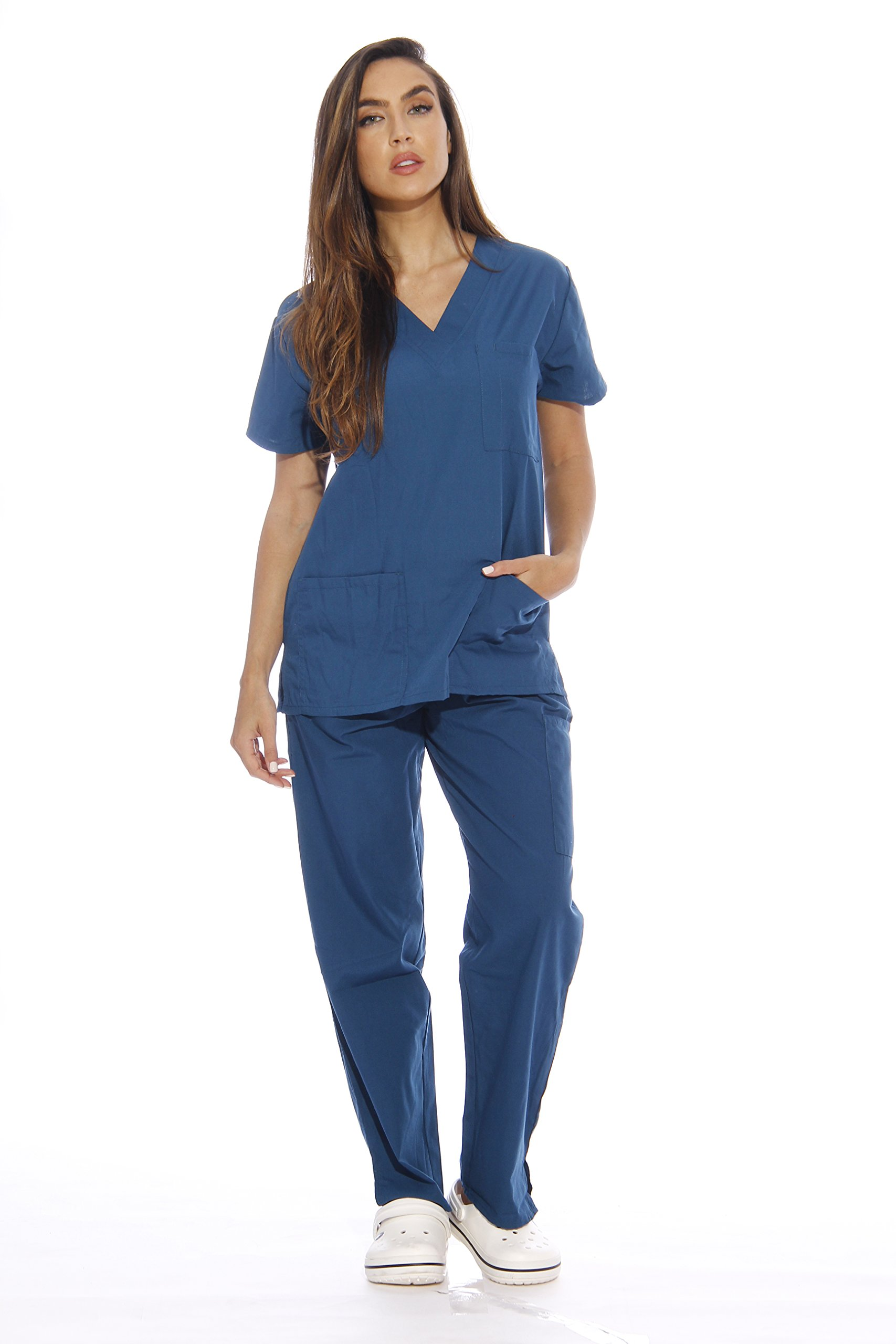 Just Love Women's Scrub Sets Six Pocket Medical Scrubs (V-Neck With Cargo Pant), Carribean Blue, Small