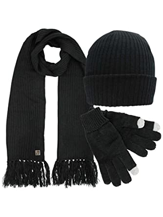 365b0da40ab Black Ribbed Knit Men s 3 Piece Hat Scarf   Texting Gloves Set at ...