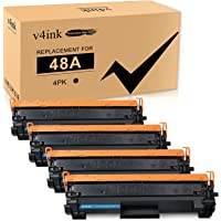 V4INK 4-Pack Compatible 48A Toner Cartridge Replacement for HP 48A CF248A Toner Cartridge Black Ink for use in HP…