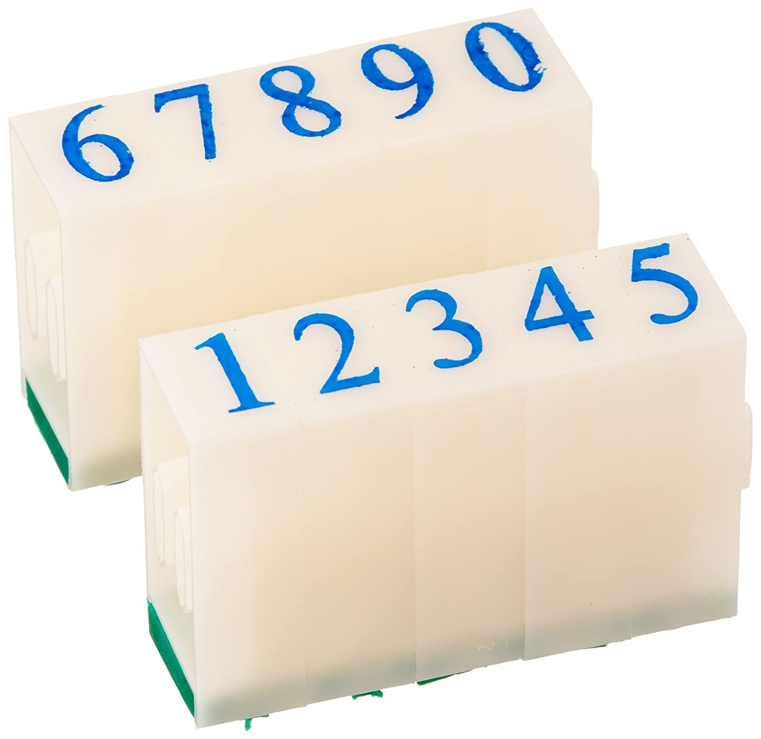 White//Green Sourcingmap 8 mm 0-9 Digits Rubber Detachable Number Stamp