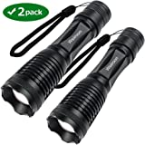 Ultra-Bright Tactical Flashlight, Wsiiroon 1800 Lumens CREE XML-T6 LED Flashlight, Zoomable, IP65 Water-Resistant, Portable, 5 Light Modes for Indoor and Outdoor Use, 2 pack (Batteries Not Included)