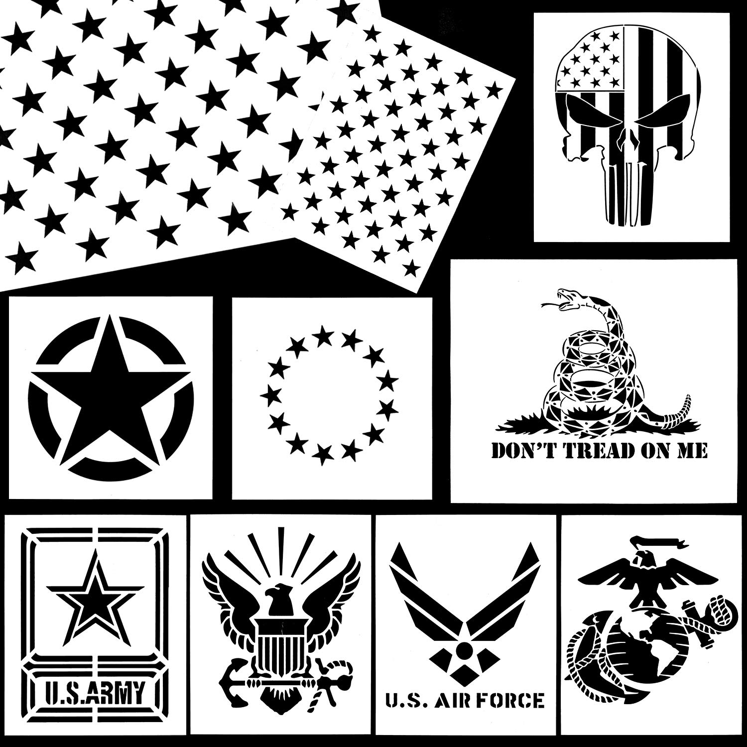 Whaline American Flag Stencil Military Series Template Marine Corps, Army, Air Force for Painting on Wood, Fabric, Paper, Airbrush, Walls Art (10 Pack) by Whaline