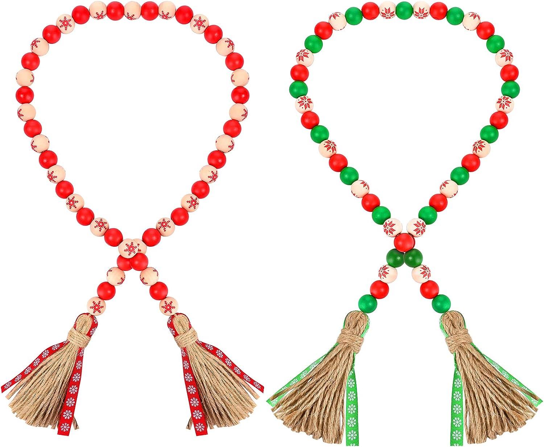 2 PCS 35.4 Inch Wood Beads Garland with Tassels Green & Red Jute Rope Tassel Wood Bead Wreath Tiered Tray Decor Farmhouse Decor Boho Home Decor Colorful Garland Summer Festival Decor Christmas Decor