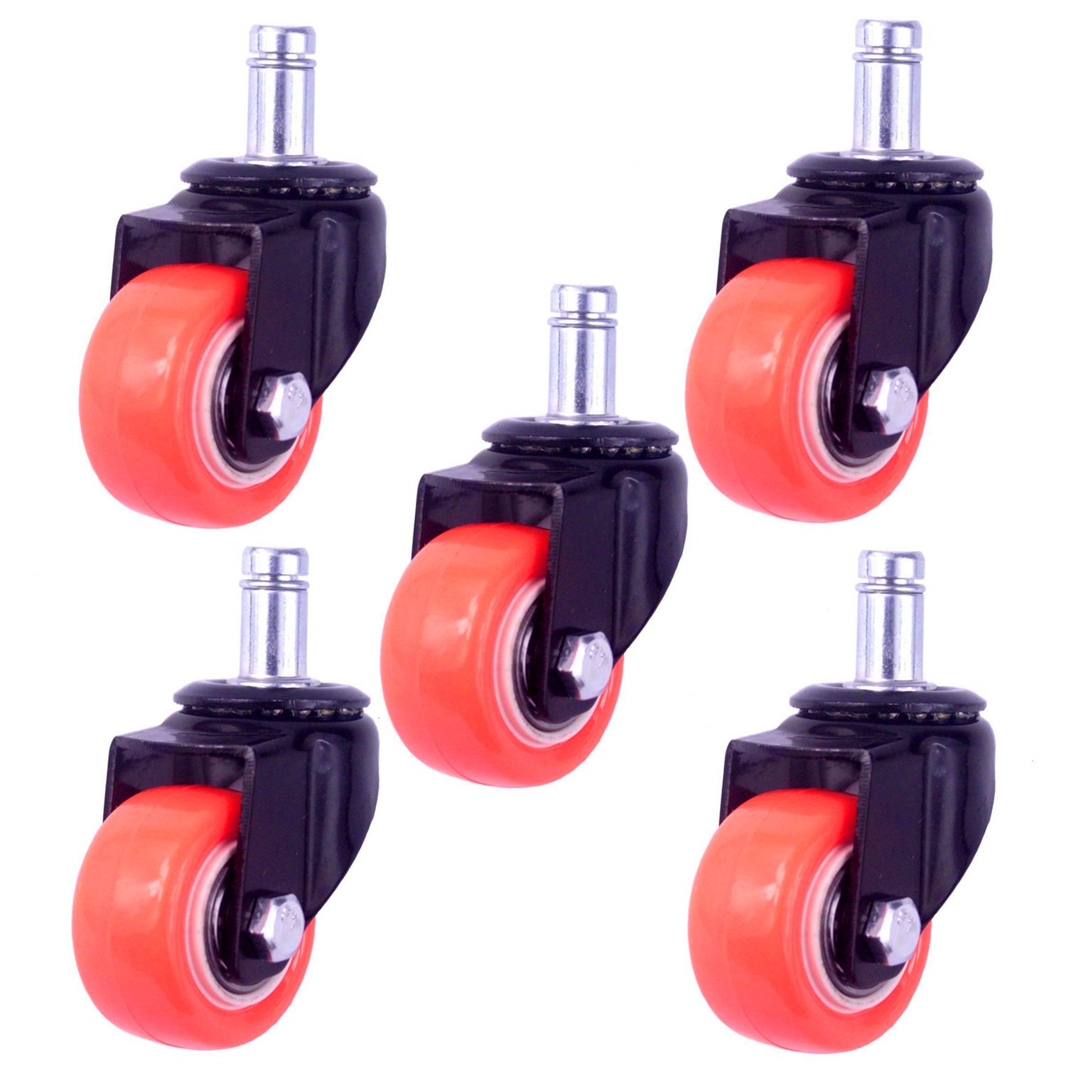 8T8 2'' Replacement Office Chair Caster Wheels Heavy Duty Solid Rubber Safe for Hardwood Tile Floors (7/16x7/8 Stem Orange)