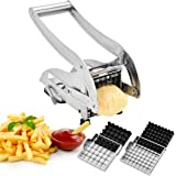CUGLB Stainless Steel French Fry Cutter Potato Chipper with 2 Interchangeable Blades and Suction Base for Vegetables Like Potato Cucumber Carrot Home Kitchen Tool