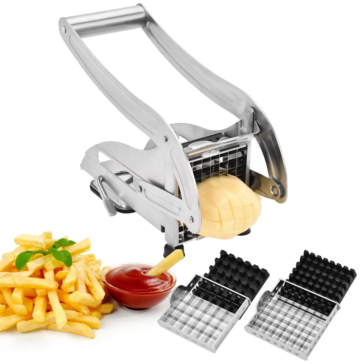 French Fry Cutter, CUGLB Homemade Potato Chip Chipper with 2 Thickness Adjustable Stainless Steel Blades and Non-Slip Suction