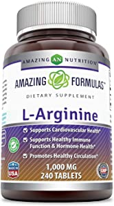 Amazing Formulas L-Arginine Supplement - Best Amino Acid Arginine HCL Supplements for Women & Man - Promotes Circulation and Supports Cardiovascular Health (240 Count - 1000 mg)