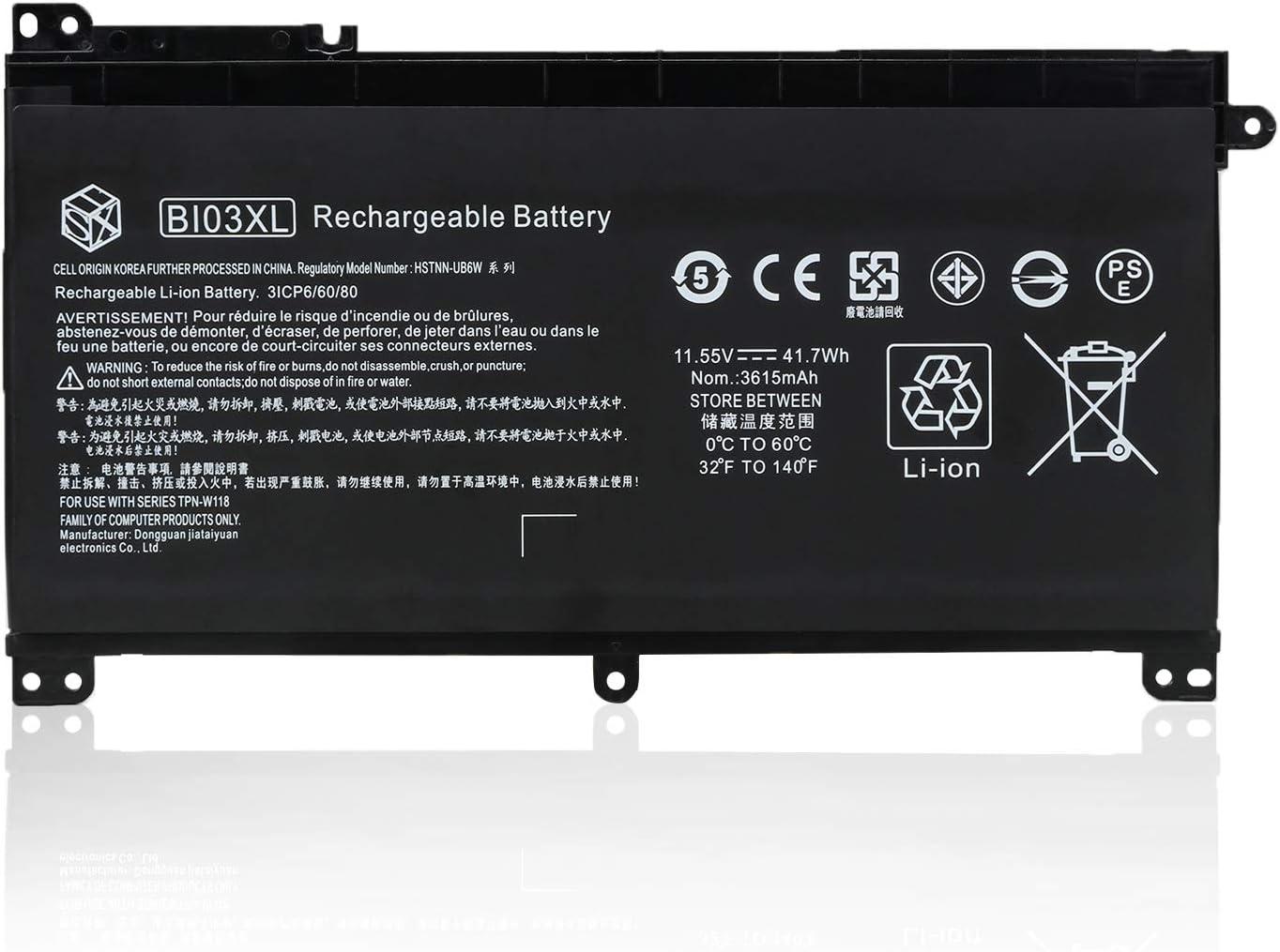 HSX BI03XL ON03XL Laptop Battery for HP Pavilion X360 13-U M3-U M3-U001DX U103DX U100TU U105DX U118TU Stream 14-AX 14-ax010wm 14-ax020wm 14-ax030wm Series 843537-541 915230-541 [11.55v/3615mAh/41.7Wh]