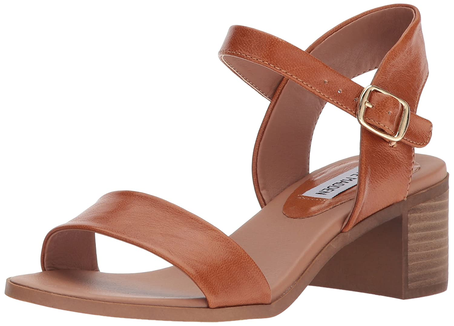 Cognac Leather Steve Madden Women's April Heeled Sandal