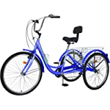 Slsy Adult Tricycles 7 Speed, Adult Trikes 20/24 / 26 inch 3 Wheel Bikes, Three-Wheeled Bicycles Cruise Trike with…