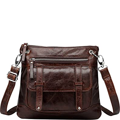 39715077dd Amazon.com  Vicenzo Leather Ella Distressed Leather Crossbody ...