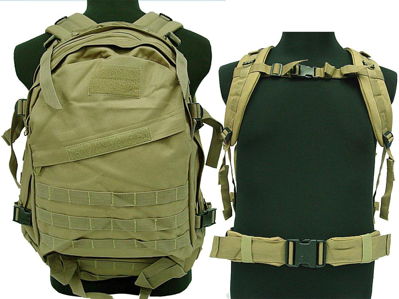 キャンプタクティカル3d登山ハイキングAirsoft Military MOLLEバックパックTan   B06XJL7CK8
